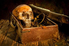 Still life with a human skull with old treasure chest and gold,. Diamond and jewelry royalty free stock images