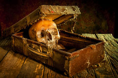 Still life with a human skull with old treasure chest and gold,. Diamond and jewelry stock image