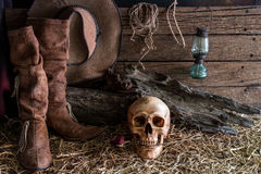 Still life with human skull and rose in barn background stock image