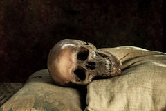 Still life with human skull on the side of you. Background stock image