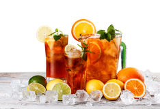 Still life of iced tea. With lemon and mint Stock Photos