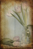 Still life image of Spring flowers with vintage texture filter e Stock Photos