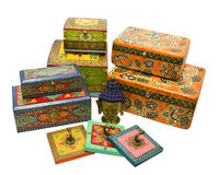 Still life with Indian boxes and Buddha head Stock Photos
