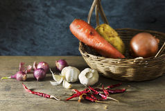 Still life of Ingredients. On wooden table in the kitchen Royalty Free Stock Photo