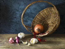 Still life of Ingredients. On wooden table in the kitchen Stock Photo