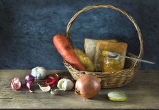 Still life of Ingredients. On wooden table in the kitchen Stock Image