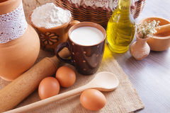Still life with ingredients for making dough Royalty Free Stock Photo