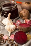 Homemade redbeet soup making process and ingredients Stock Images