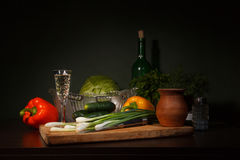 Still life with ingredients for a salad Royalty Free Stock Images