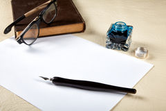 Still-life with the  Ink pot and quill Royalty Free Stock Photo