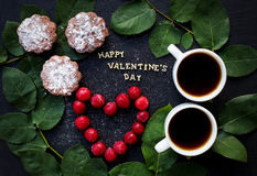 Still Life inscription Happy Valentine, cherry, muffins, coffee Royalty Free Stock Photos