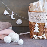 Still life with interior Christmas decoration elements Stock Image