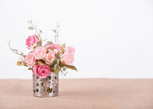 Still life interior decoration pink rose flower on rustic wooden Stock Images