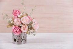 still life interior decoration pink rose flower in a vase on rus Stock Photography