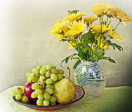 Still Life, Interior With Fruits And Flowers Stock Image