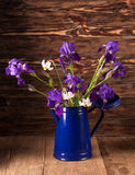 Still life with iris. Es on brown wooden background Royalty Free Stock Photos