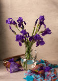 Still life with iris. Es and jade with jewelery Stock Images