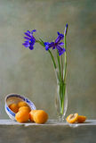 Still life with irises. And apricots Stock Photos
