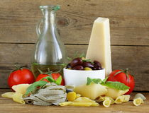 Still life of Italian foods Stock Photography
