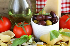 Still life of Italian foods Royalty Free Stock Photography