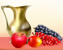 Still life with a jug of apple golden grapes and m Stock Image