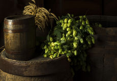 Still Life with a keg of beer. Stock Photo