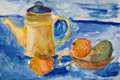 Still life with kettle and apples aquarelle Royalty Free Stock Image
