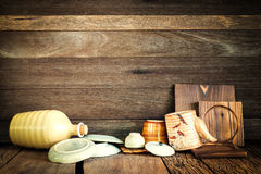 Still life of kitchen accessory drying after washed on wood back Stock Photos