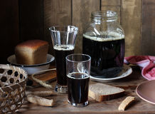 Still life with kvass from rye bread in rustic style. Stock Photos