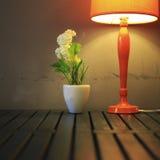 Still life with lamp, the flower. Still life with lamp, the flower Stock Photo