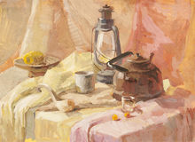 Still life with lantern, teapot  and wooden spoon gouache  Stock Image