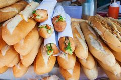 Still life. Laos style breakfast. Baguette or French bread with royalty free stock image