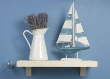 Still-life with lavender and sailboat Royalty Free Stock Images