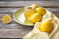 Still life of lemon jam stock photos