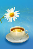 Still-life with lemon-tea and white flowers Royalty Free Stock Image