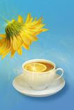 Still-life with lemon-tea and yellow flowers Royalty Free Stock Photos