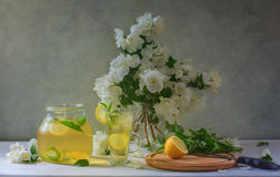 Still life with lemonade and jasmine flowers. Still life with lemonade in a glass jar and a clear frosty jasmine flowers in a glass vase, a glass of lemonade stock photography
