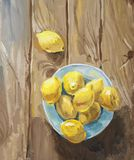 Still Life with Lemons on the blue plate Royalty Free Stock Photos