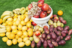 Still life with lemons, pears, bananas, apples and grapes Royalty Free Stock Images