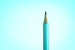 Still life lighting with close up top silver pencil on the blue royalty free stock photos