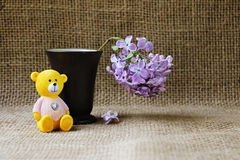 Still life with lilac flowers and a teddy bear. Stock Photo