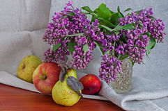 Still life with lilac pears and apples Stock Image