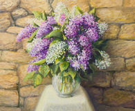 Still life with lilacs. An oil painting on canvas of a beautiful still life with blooming lilacs in a nice glass vase over a stone tiled background. Springtime Royalty Free Stock Photography