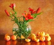 Still life with lilies and apricots Stock Photos