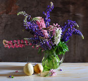Still life with a lupin and pears Royalty Free Stock Photos
