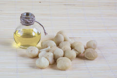 Still life with Macadamia nuts and bottle of oil Stock Photo