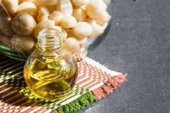 Still life with Macadamia oil in the bottle and Stock Photos