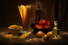 Still life with macaroni stock images
