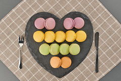 Still life, macarons, heart shape. Table setting Royalty Free Stock Images