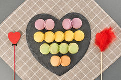 Still life macarons, hearts couple .Love concept Royalty Free Stock Images